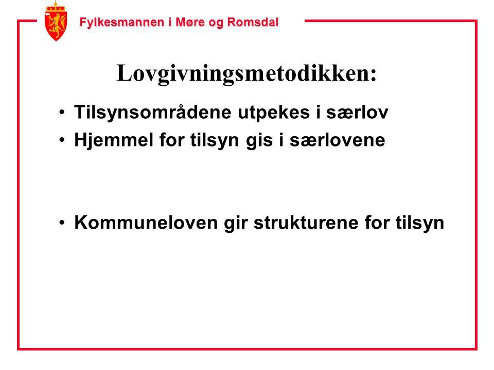 Fylkesmannen i Møre og Romsdal Lovgivningsmetodikken: Tilsynsområdene utpekes i særlov Hjemmel for tilsyn gis i særlovene Kommuneloven gir strukturene