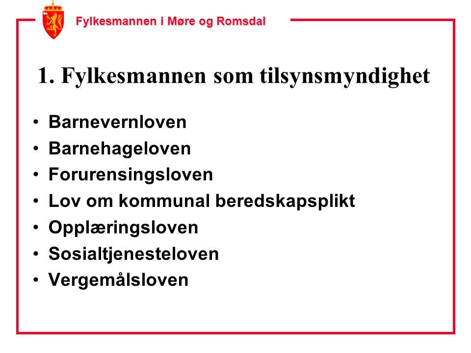 Fylkesmannen i Møre og Romsdal 1. Fylkesmannen som tilsynsmyndighet Barnevernloven Barnehageloven Forurensingsloven Lov om kommunal beredskapsplikt Op