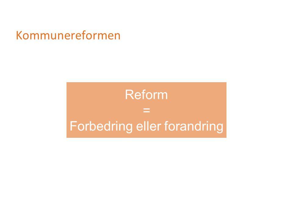 Kommunereformen Reform = Forbedring eller forandring