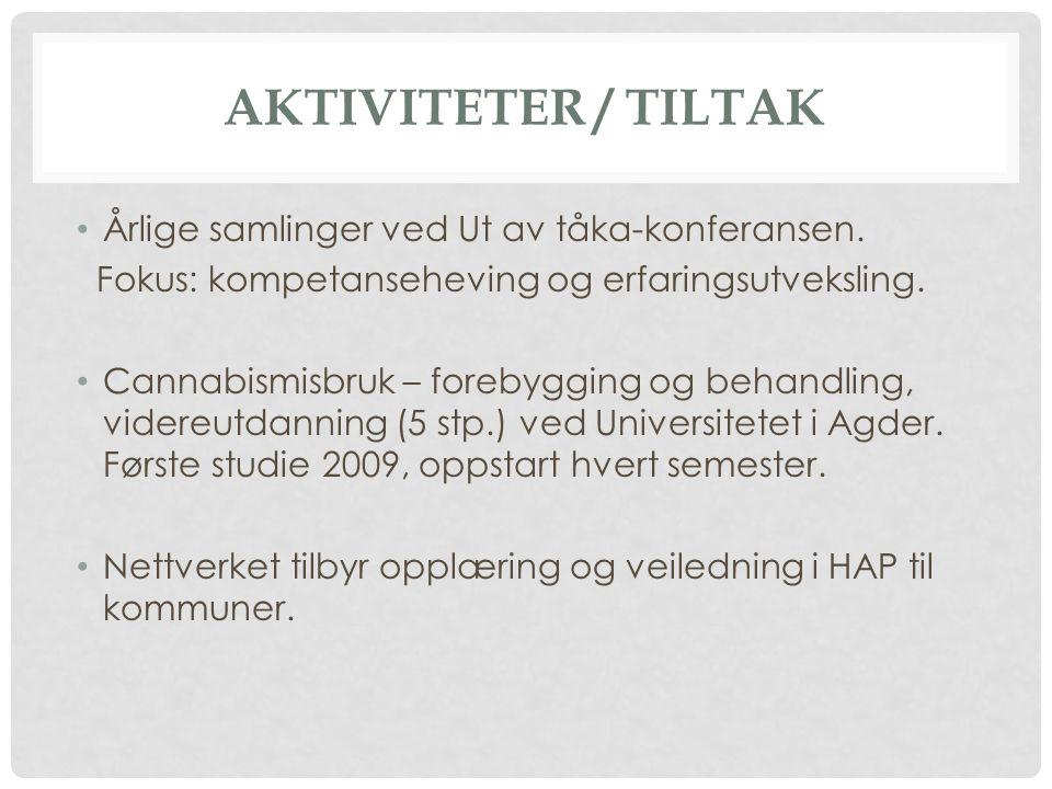 AKTIVITETER / TILTAK Årlige samlinger ved Ut av tåka-konferansen.