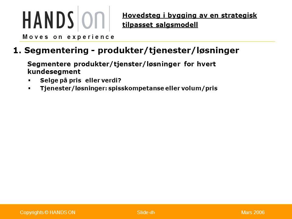 M o v e s o n e x p e r i e n c e Oslo 25.07.2001Copyrights © HANDS ONPage / Pages 11Mars 2006Copyrights © HANDS ONSlide 11 1. Segmentering - produkte