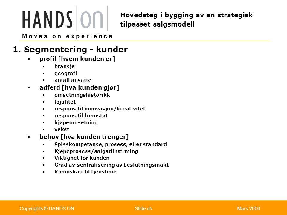 M o v e s o n e x p e r i e n c e Oslo 25.07.2001Copyrights © HANDS ONPage / Pages 12Mars 2006Copyrights © HANDS ONSlide 12 1. Segmentering - kunder 