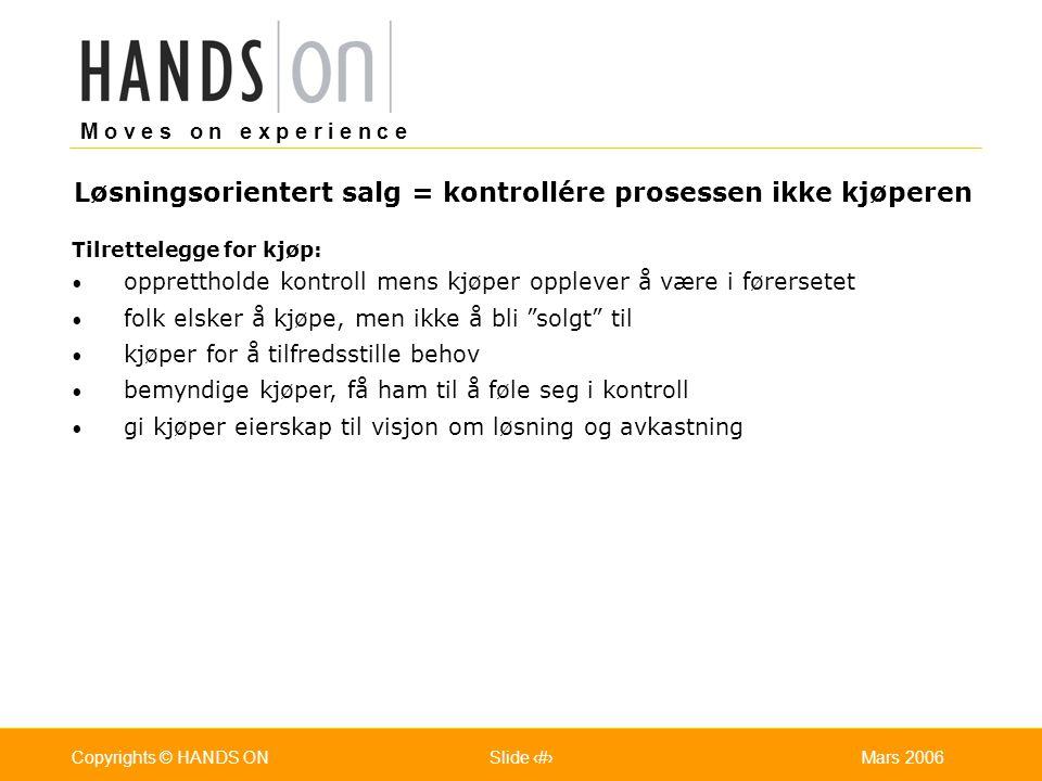 M o v e s o n e x p e r i e n c e Oslo 25.07.2001Copyrights © HANDS ONPage / Pages 17Mars 2006Copyrights © HANDS ONSlide 17 Tilrettelegge for kjøp: op
