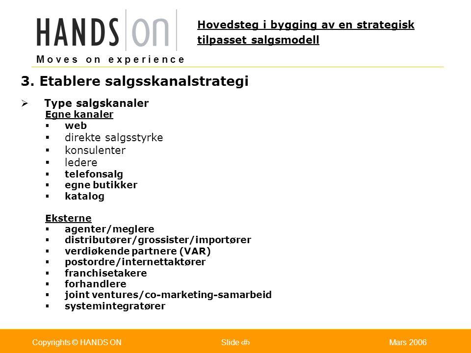 M o v e s o n e x p e r i e n c e Oslo 25.07.2001Copyrights © HANDS ONPage / Pages 18Mars 2006Copyrights © HANDS ONSlide 18 3. Etablere salgsskanalstr