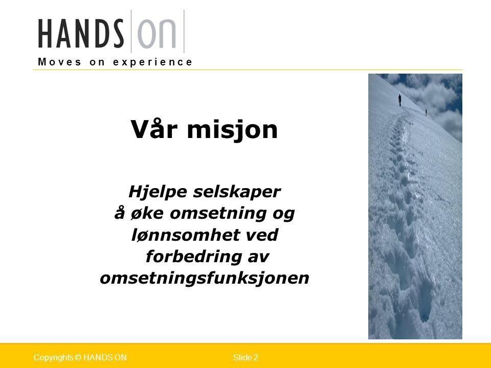 M o v e s o n e x p e r i e n c e Oslo 25.07.2001Copyrights © HANDS ONPage / Pages 23Mars 2006Copyrights © HANDS ONSlide 23 6.