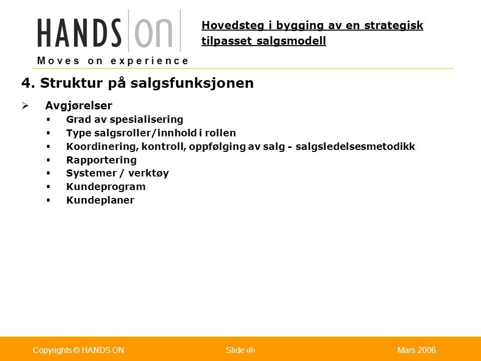 M o v e s o n e x p e r i e n c e Oslo 25.07.2001Copyrights © HANDS ONPage / Pages 21Mars 2006Copyrights © HANDS ONSlide 21 4. Struktur på salgsfunksj