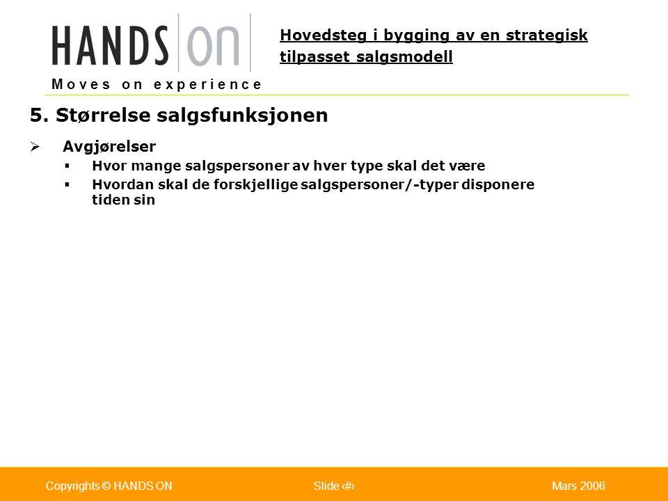 M o v e s o n e x p e r i e n c e Oslo 25.07.2001Copyrights © HANDS ONPage / Pages 22Mars 2006Copyrights © HANDS ONSlide 22 5. Størrelse salgsfunksjon