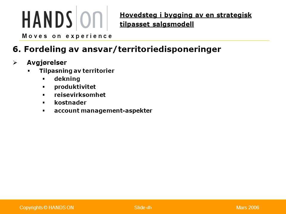 M o v e s o n e x p e r i e n c e Oslo 25.07.2001Copyrights © HANDS ONPage / Pages 23Mars 2006Copyrights © HANDS ONSlide 23 6. Fordeling av ansvar/ter