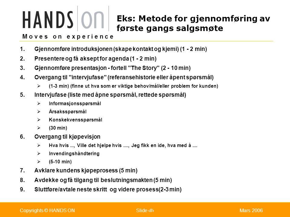M o v e s o n e x p e r i e n c e Oslo 25.07.2001Copyrights © HANDS ONPage / Pages 30Mars 2006Copyrights © HANDS ONSlide 30 Eks: Metode for gjennomfør