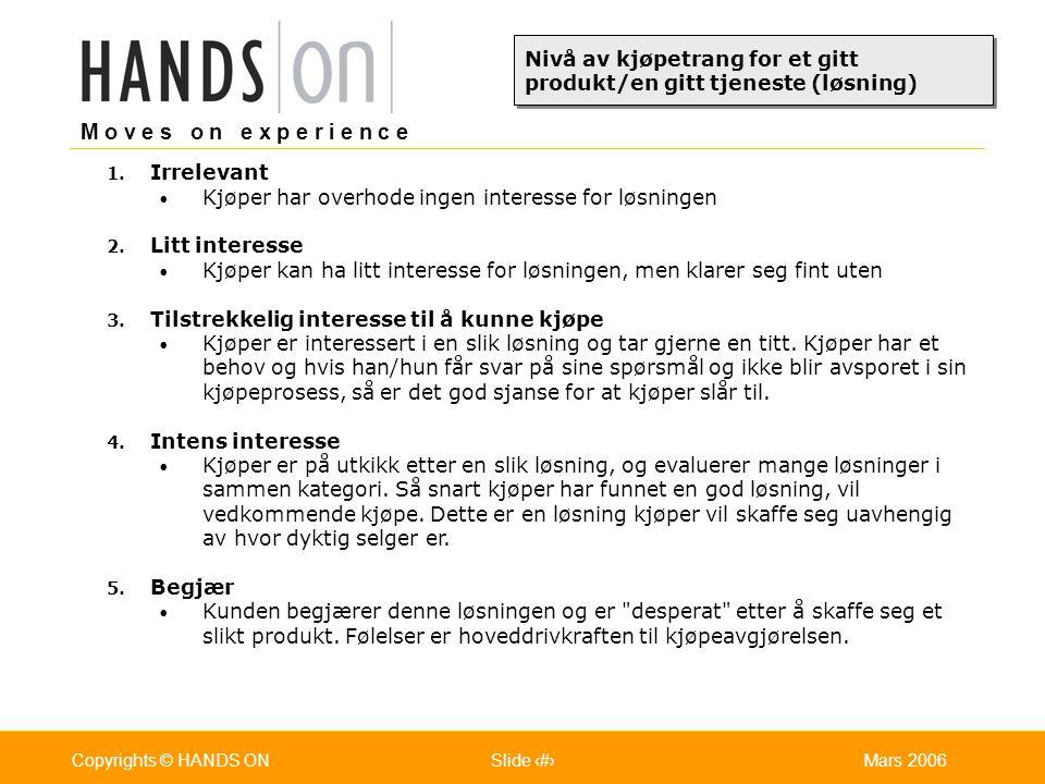M o v e s o n e x p e r i e n c e Oslo 25.07.2001Copyrights © HANDS ONPage / Pages 9Mars 2006Copyrights © HANDS ONSlide 9 Stående-fot-løsninger: Kjøper tar avgjørelse og kjøper på stående fot.