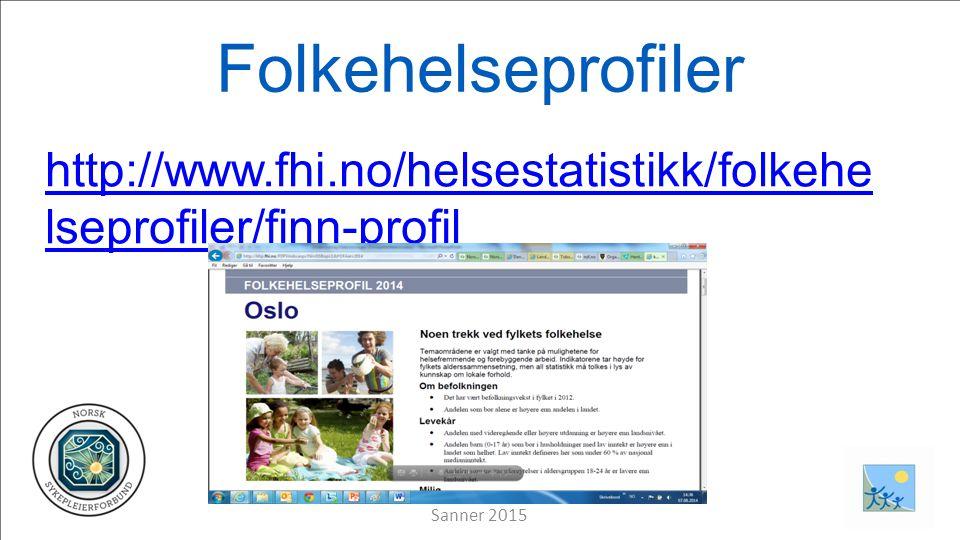 Folkehelseprofiler http://www.fhi.no/helsestatistikk/folkehe lseprofiler/finn-profil Sanner 2015