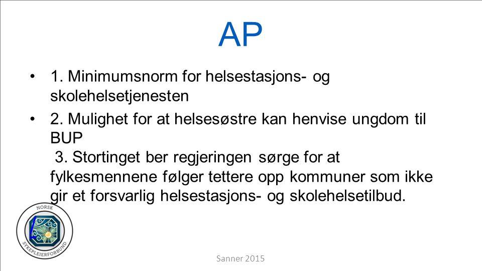 AP 1. Minimumsnorm for helsestasjons- og skolehelsetjenesten 2.