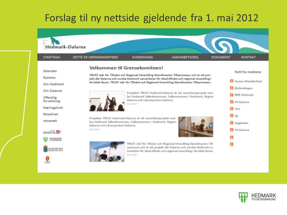 Forslag til ny nettside gjeldende fra 1. mai 2012
