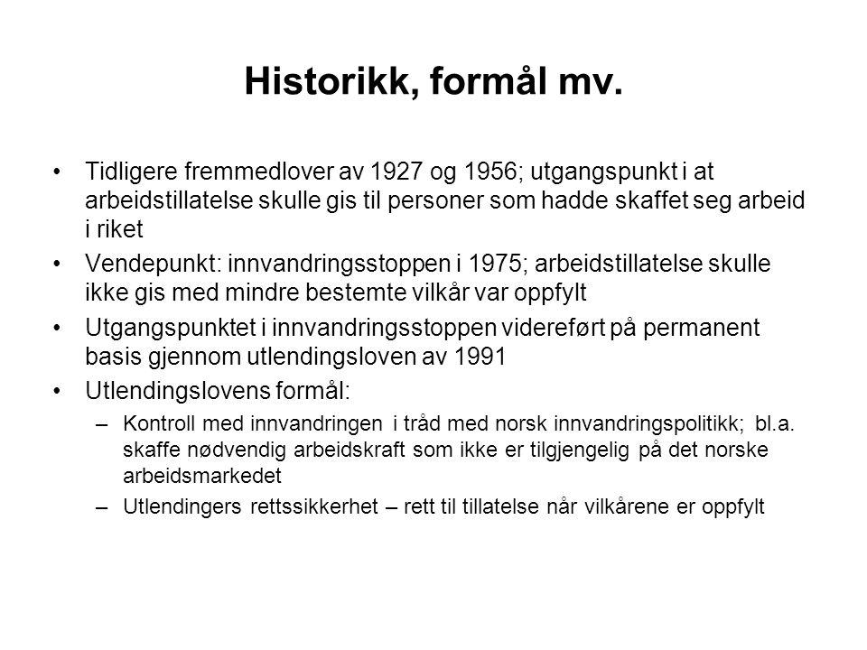 Historikk, formål mv. Tidligere fremmedlover av 1927 og 1956; utgangspunkt i at arbeidstillatelse skulle gis til personer som hadde skaffet seg arbeid