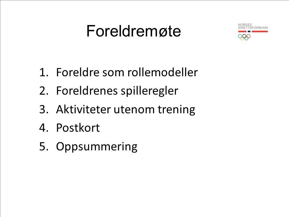 Foreldremøte 1.Foreldre som rollemodeller 2.Foreldrenes spilleregler 3.Aktiviteter utenom trening 4.Postkort 5.Oppsummering