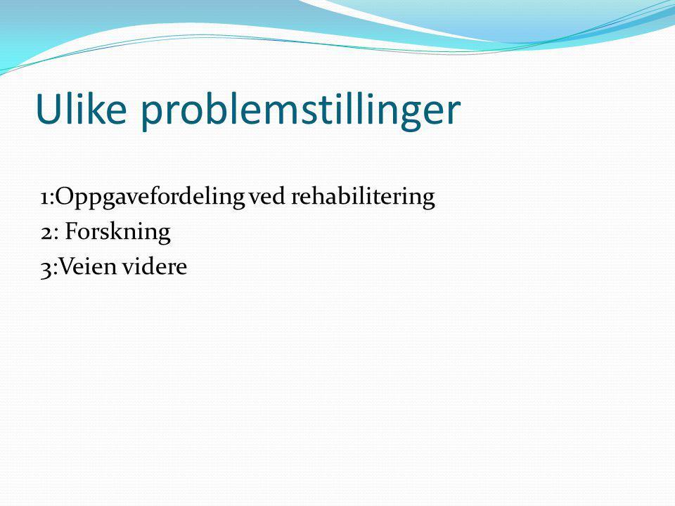 Ulike problemstillinger 1:Oppgavefordeling ved rehabilitering 2: Forskning 3:Veien videre