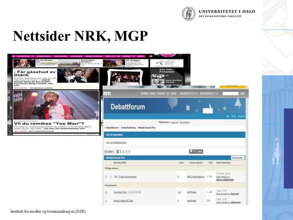 Institutt for medier og kommunikasjon (IMK) Nettsider NRK, MGP