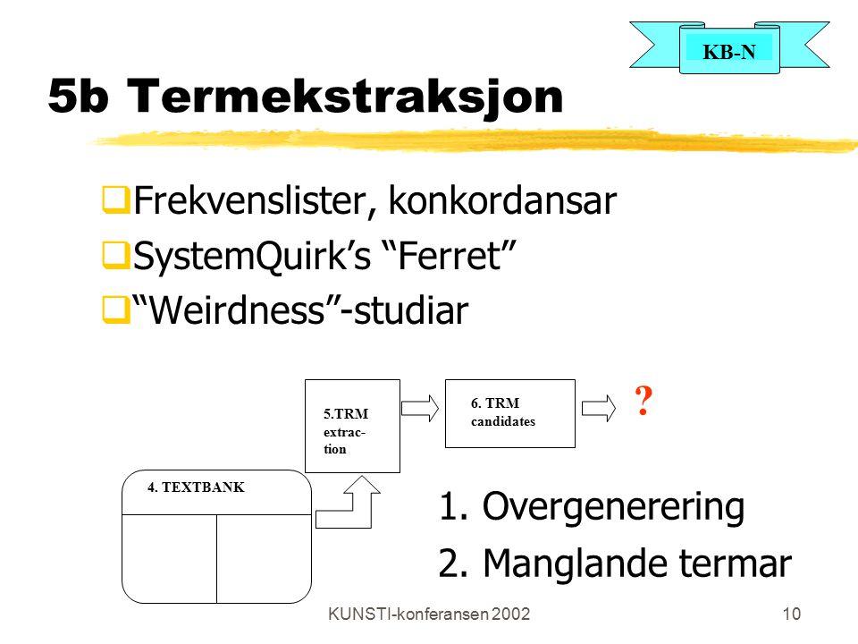 KB-N KUNSTI-konferansen 200210 5b Termekstraksjon  Frekvenslister, konkordansar  SystemQuirk's Ferret  Weirdness -studiar 5.TRM extrac- tion 6.