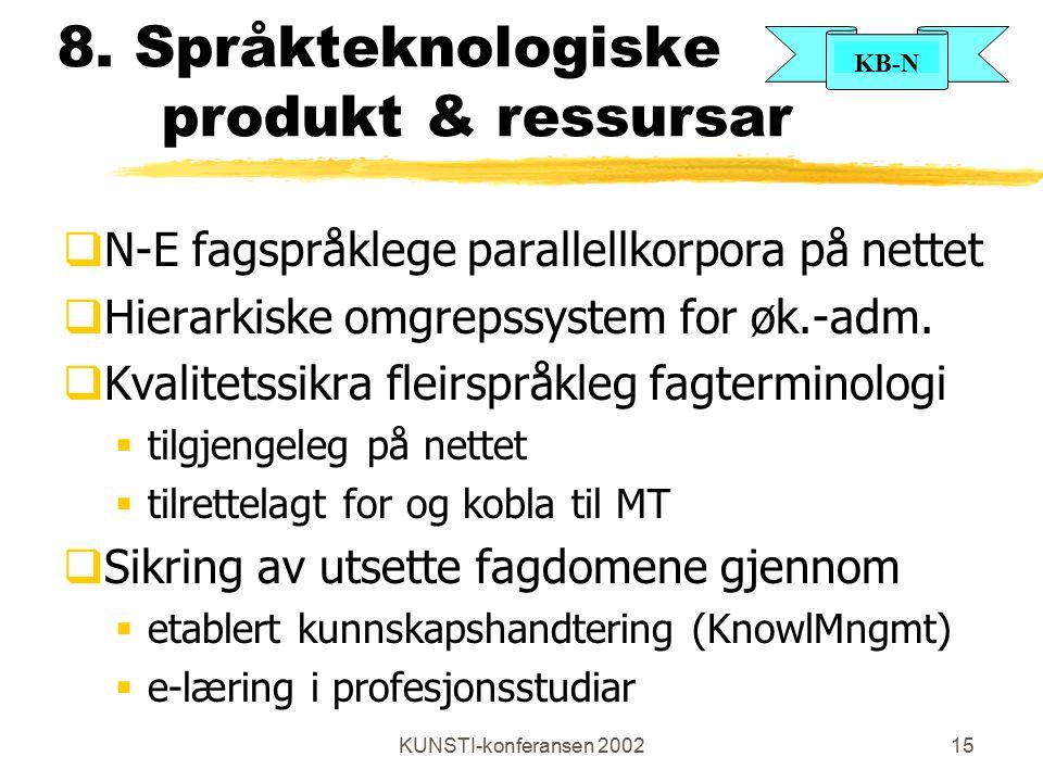 KB-N KUNSTI-konferansen 200215 8. Språkteknologiske produkt & ressursar  N-E fagspråklege parallellkorpora på nettet  Hierarkiske omgrepssystem for
