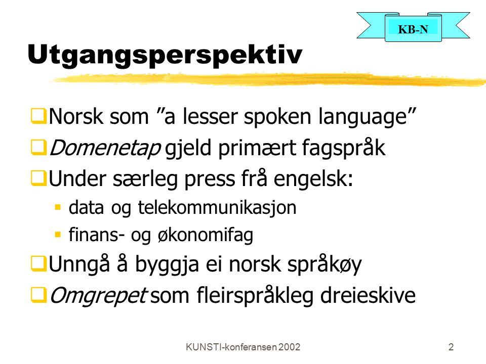 """KUNSTI-konferansen 20022 Utgangsperspektiv  Norsk som """"a lesser spoken language""""  Domenetap gjeld primært fagspråk  Under særleg press frå engelsk:"""