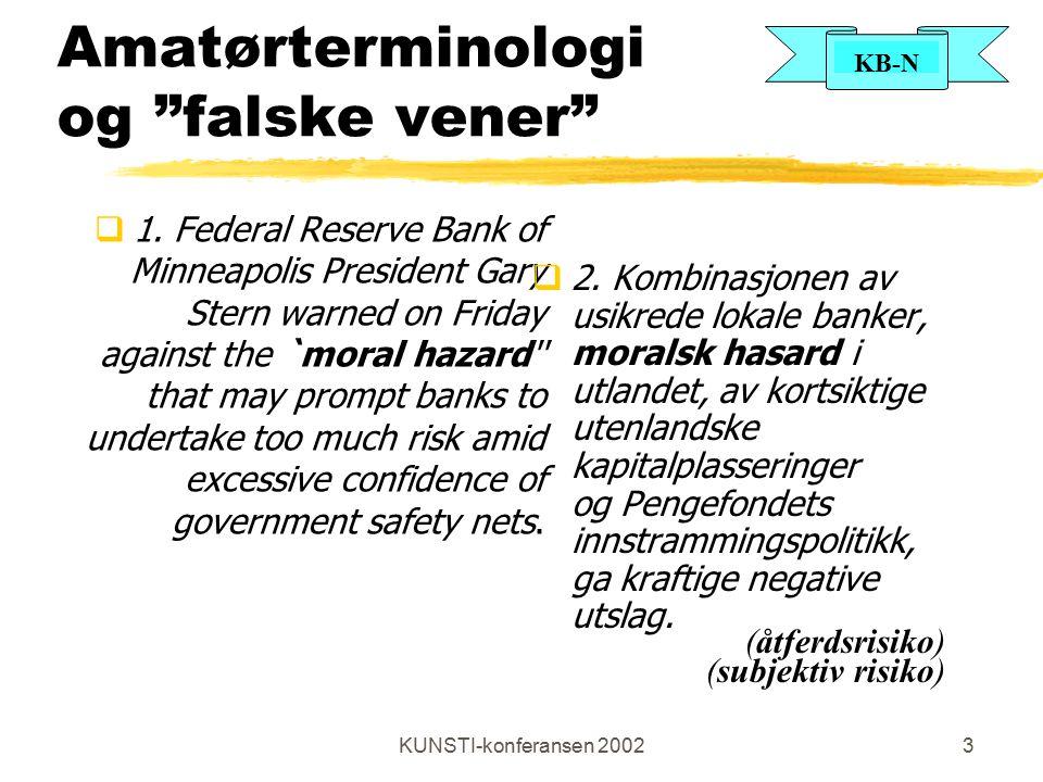 """KB-N KUNSTI-konferansen 20023 Amatørterminologi og """"falske vener""""  1. Federal Reserve Bank of Minneapolis President Gary Stern warned on Friday again"""