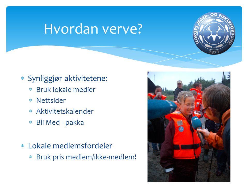  Synliggjør aktivitetene:  Bruk lokale medier  Nettsider  Aktivitetskalender  Bli Med - pakka  Lokale medlemsfordeler  Bruk pris medlem/ikke-me
