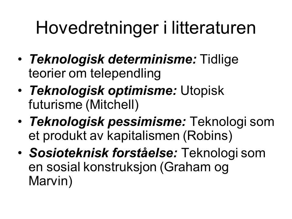 Hovedretninger i litteraturen Teknologisk determinisme: Tidlige teorier om telependling Teknologisk optimisme: Utopisk futurisme (Mitchell) Teknologis