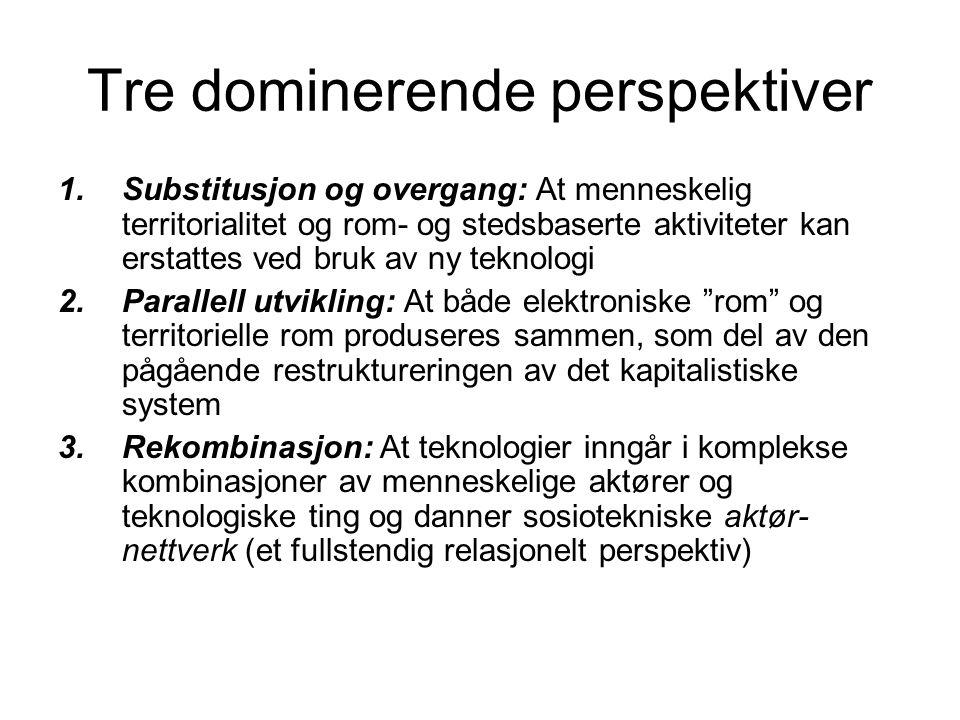Tre dominerende perspektiver 1.Substitusjon og overgang: At menneskelig territorialitet og rom- og stedsbaserte aktiviteter kan erstattes ved bruk av ny teknologi 2.Parallell utvikling: At både elektroniske rom og territorielle rom produseres sammen, som del av den pågående restruktureringen av det kapitalistiske system 3.Rekombinasjon: At teknologier inngår i komplekse kombinasjoner av menneskelige aktører og teknologiske ting og danner sosiotekniske aktør- nettverk (et fullstendig relasjonelt perspektiv)
