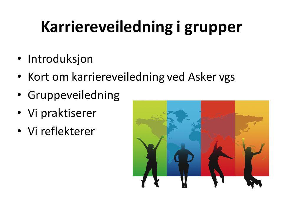 Introduksjon Kort om karriereveiledning ved Asker vgs Gruppeveiledning Vi praktiserer Vi reflekterer