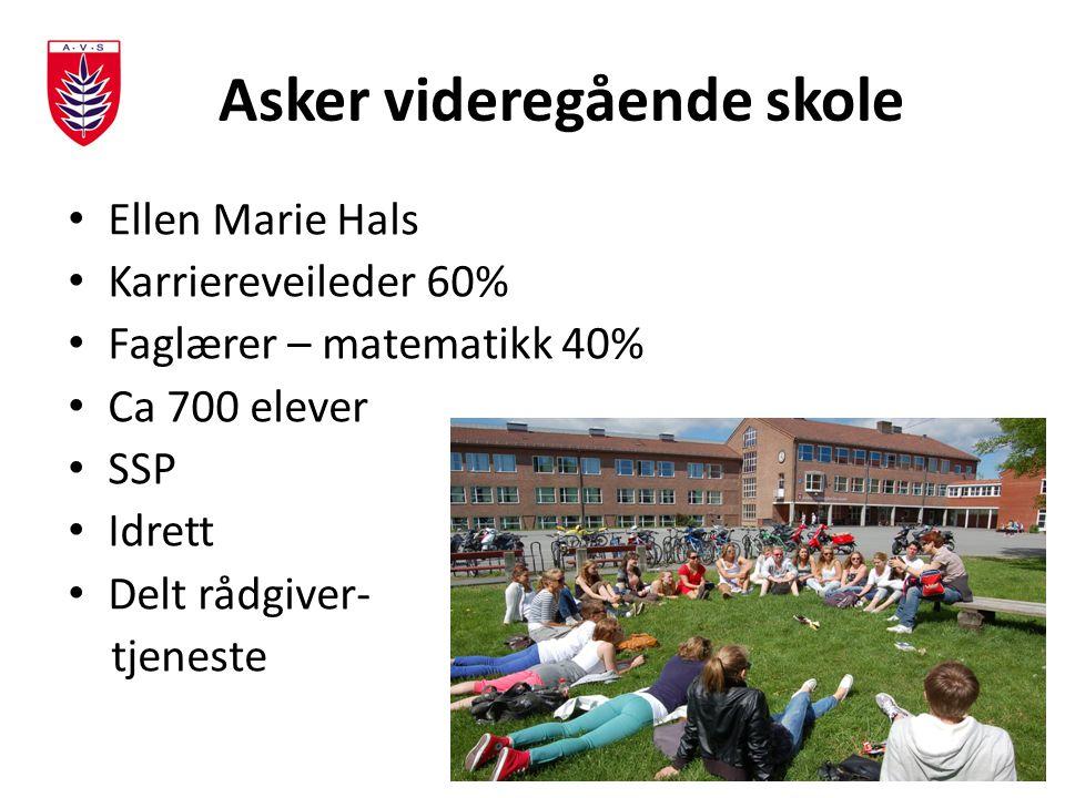 Asker videregående skole Ellen Marie Hals Karriereveileder 60% Faglærer – matematikk 40% Ca 700 elever SSP Idrett Delt rådgiver- tjeneste