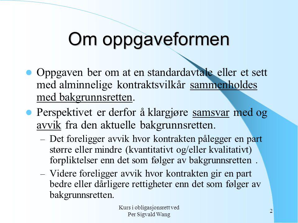 Kurs i obligasjonsrett ved Per Sigvald Wang 2 Om oppgaveformen Oppgaven ber om at en standardavtale eller et sett med alminnelige kontraktsvilkår samm