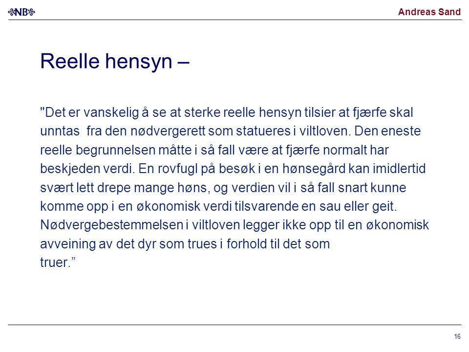Andreas Sand Reelle hensyn –