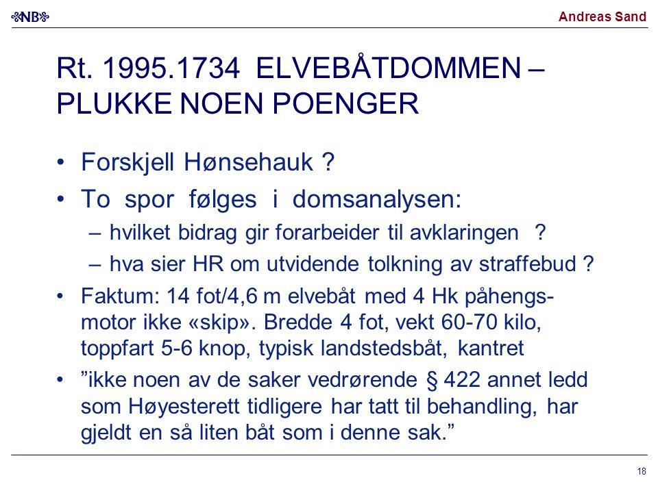 Andreas Sand Rt. 1995.1734 ELVEBÅTDOMMEN – PLUKKE NOEN POENGER Forskjell Hønsehauk ? To spor følges i domsanalysen: –hvilket bidrag gir forarbeider ti