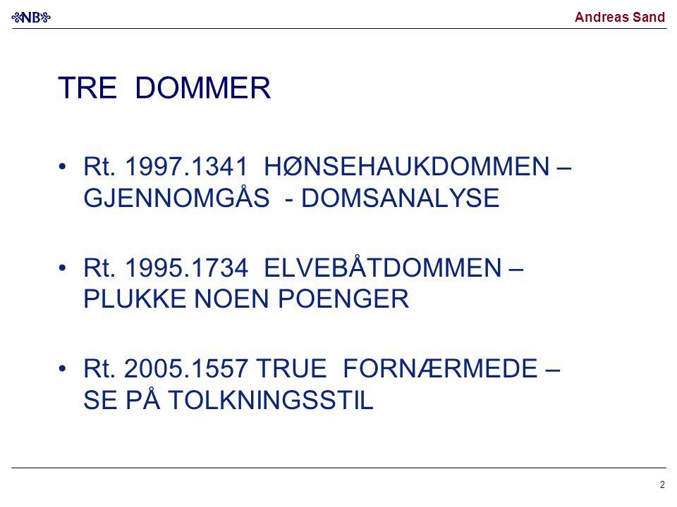Andreas Sand 2 TRE DOMMER Rt. 1997.1341 HØNSEHAUKDOMMEN – GJENNOMGÅS - DOMSANALYSE Rt. 1995.1734 ELVEBÅTDOMMEN – PLUKKE NOEN POENGER Rt. 2005.1557 TRU