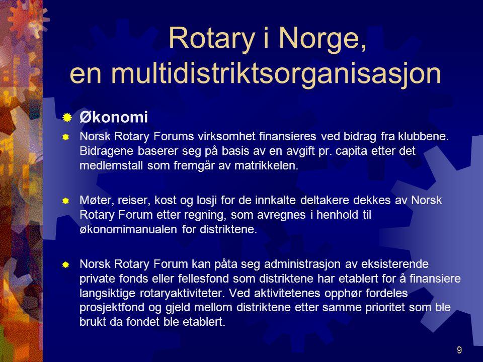 Rotary i Norge, en multidistriktsorganisasjon  Økonomi  Norsk Rotary Forums virksomhet finansieres ved bidrag fra klubbene.