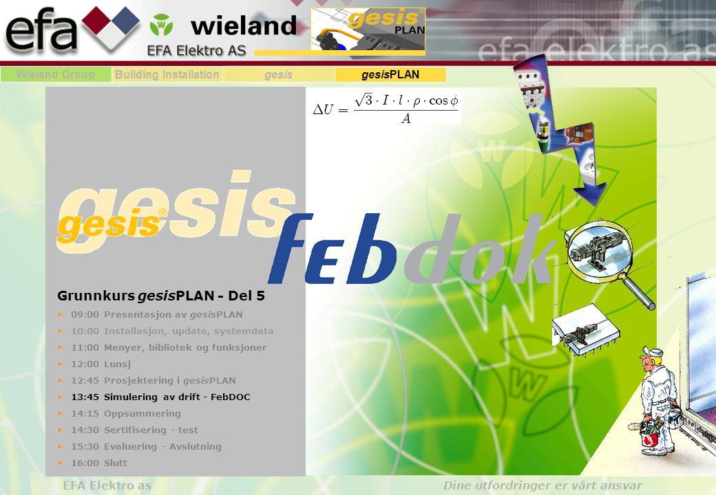 Wieland GroupBuilding Installationgesis gesisPLAN EFA Elektro as Dine utfordringer er vårt ansvar Grunnkurs gesisPLAN - Del 5 09:00 Presentasjon av gesisPLAN 10:00 Installasjon, update, systemdata 11:00 Menyer, bibliotek og funksjoner 12:00 Lunsj 12:45 Prosjektering i gesisPLAN 13:45 Simulering av drift - FebDOC 14:15 Oppsummering 14:30 Sertifisering - test 15:30 Evaluering - Avslutning 16:00 Slutt