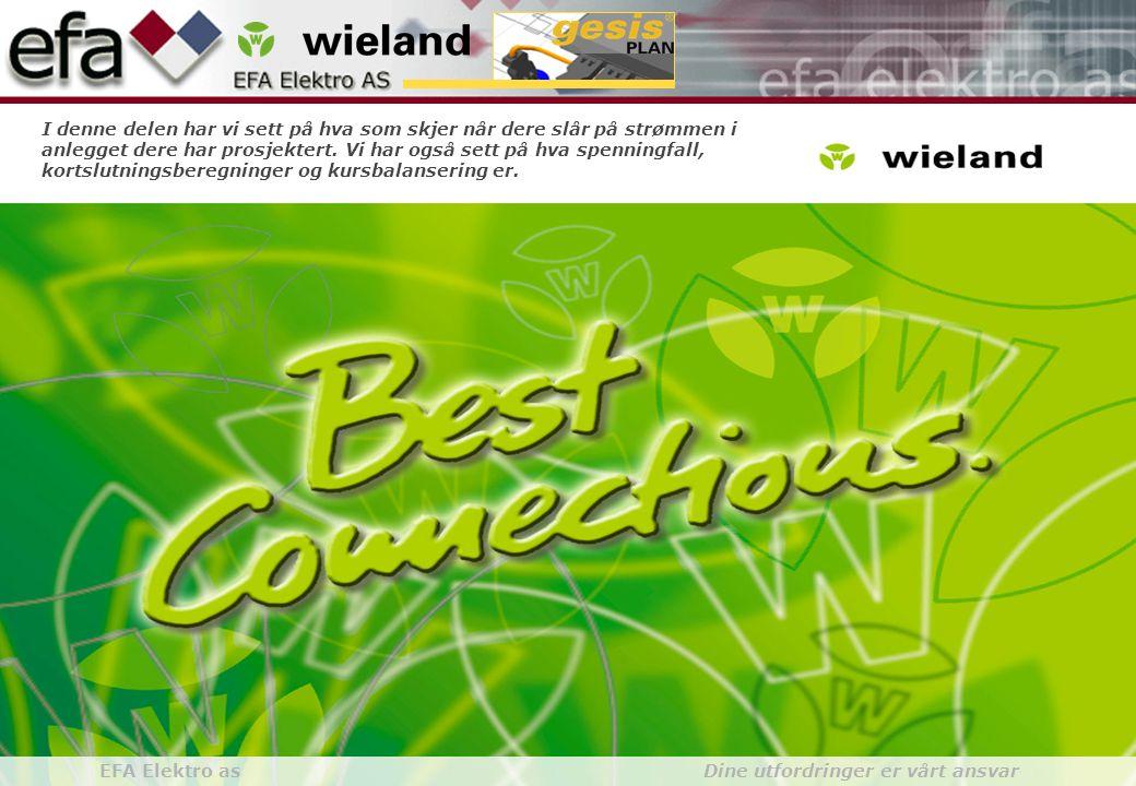 Wieland GroupBuilding Installationgesis gesisPLAN EFA Elektro as Dine utfordringer er vårt ansvar I denne delen har vi sett på hva som skjer når dere slår på strømmen i anlegget dere har prosjektert.