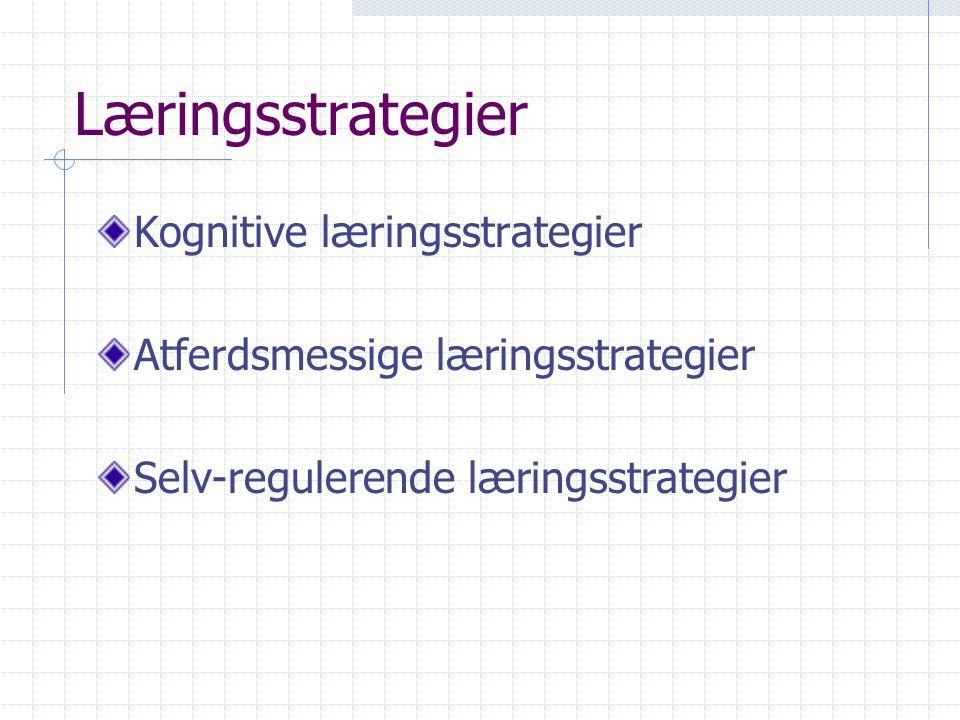 Læringsstrategier Kognitive læringsstrategier Atferdsmessige læringsstrategier Selv-regulerende læringsstrategier