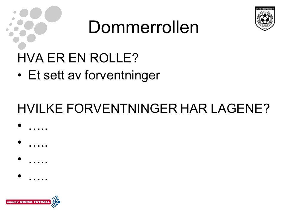 Dommerrollen HVA ER EN ROLLE Et sett av forventninger HVILKE FORVENTNINGER HAR LAGENE …..