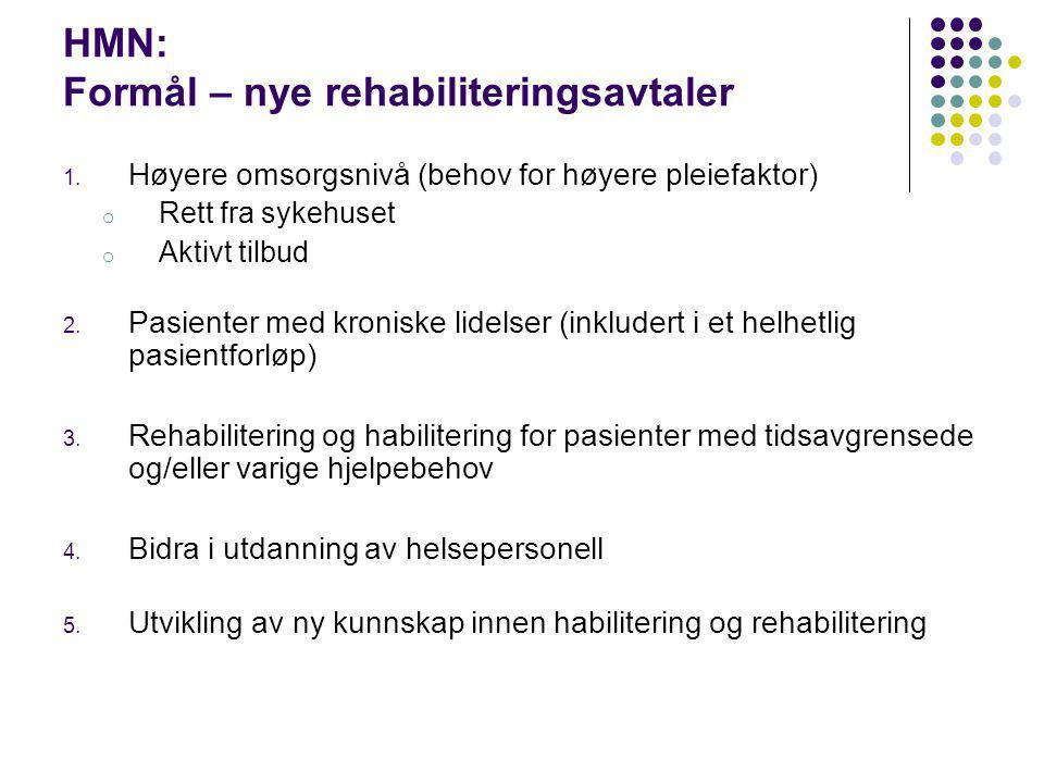 HMN: Formål – nye rehabiliteringsavtaler 1. Høyere omsorgsnivå (behov for høyere pleiefaktor) o Rett fra sykehuset o Aktivt tilbud 2. Pasienter med kr