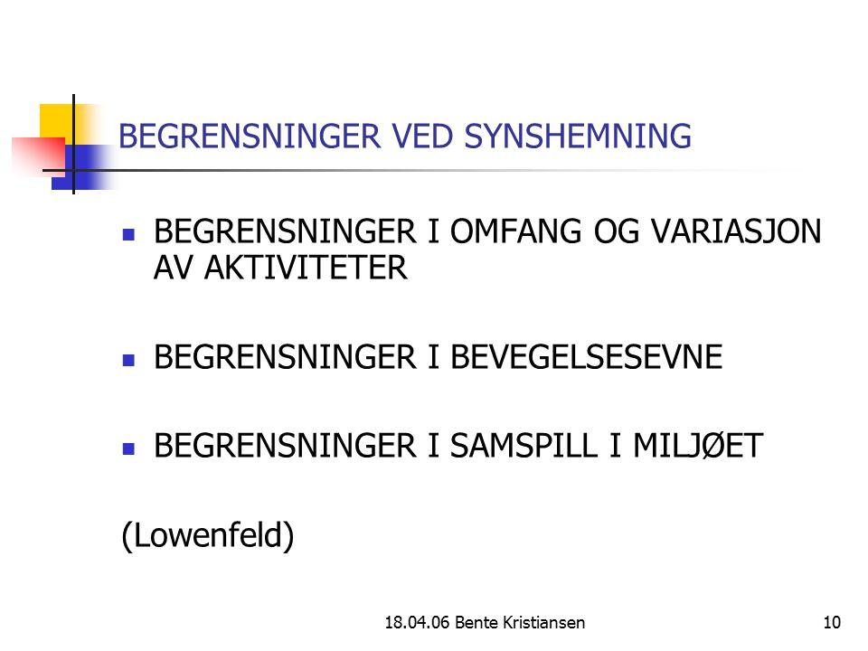 18.04.06 Bente Kristiansen10 BEGRENSNINGER VED SYNSHEMNING BEGRENSNINGER I OMFANG OG VARIASJON AV AKTIVITETER BEGRENSNINGER I BEVEGELSESEVNE BEGRENSNI