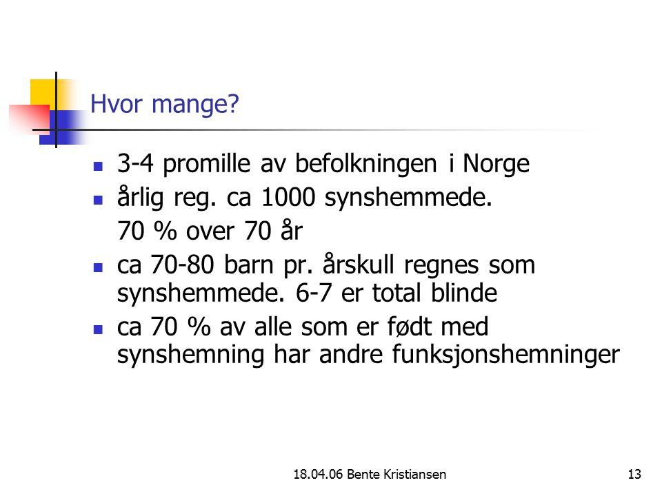 18.04.06 Bente Kristiansen13 Hvor mange? 3-4 promille av befolkningen i Norge årlig reg. ca 1000 synshemmede. 70 % over 70 år ca 70-80 barn pr. årskul