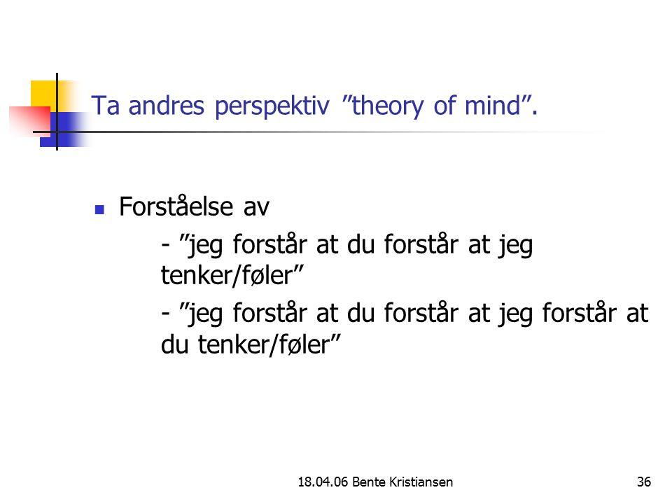 """18.04.06 Bente Kristiansen36 Ta andres perspektiv """"theory of mind"""". Forståelse av - """"jeg forstår at du forstår at jeg tenker/føler"""" - """"jeg forstår at"""