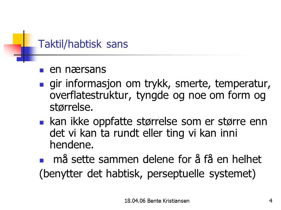 18.04.06 Bente Kristiansen4 Taktil/habtisk sans en nærsans gir informasjon om trykk, smerte, temperatur, overflatestruktur, tyngde og noe om form og s