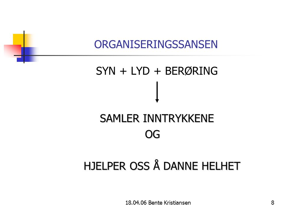 18.04.06 Bente Kristiansen8 ORGANISERINGSSANSEN SYN + LYD + BERØRING SAMLER INNTRYKKENE OG OG HJELPER OSS Å DANNE HELHET