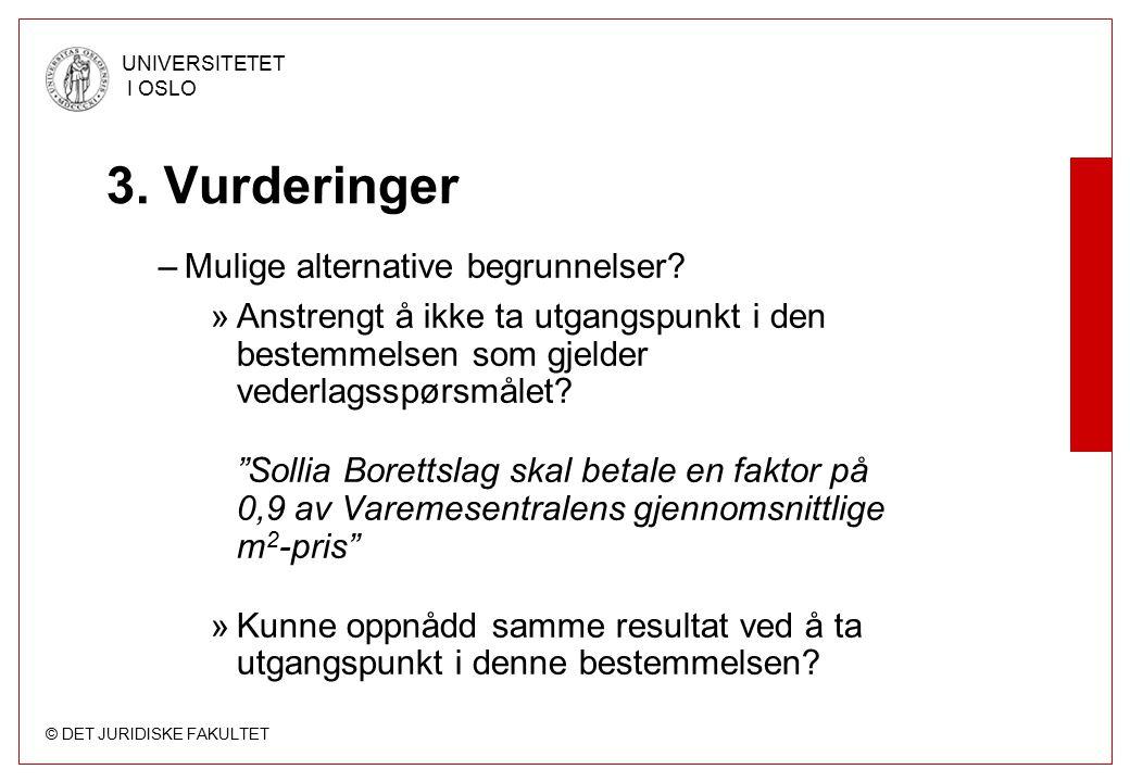 © DET JURIDISKE FAKULTET UNIVERSITETET I OSLO 3. Vurderinger –Mulige alternative begrunnelser.