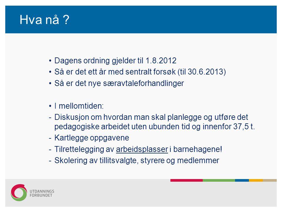 Hva nå ? Dagens ordning gjelder til 1.8.2012 Så er det ett år med sentralt forsøk (til 30.6.2013) Så er det nye særavtaleforhandlinger I mellomtiden: