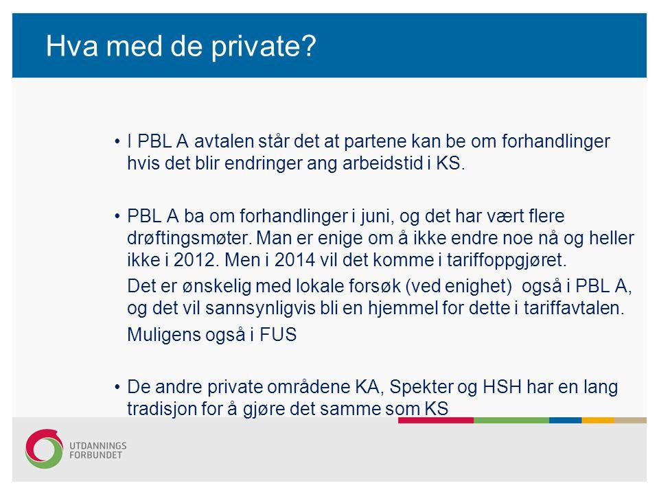 Hva med de private? I PBL A avtalen står det at partene kan be om forhandlinger hvis det blir endringer ang arbeidstid i KS. PBL A ba om forhandlinger
