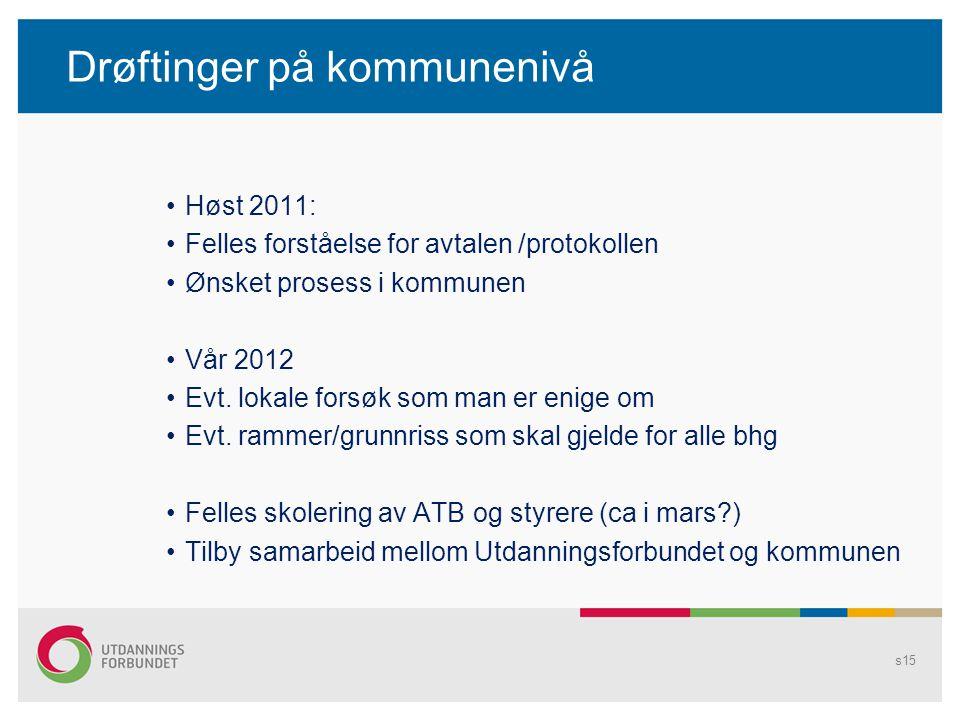Drøftinger på kommunenivå Høst 2011: Felles forståelse for avtalen /protokollen Ønsket prosess i kommunen Vår 2012 Evt. lokale forsøk som man er enige