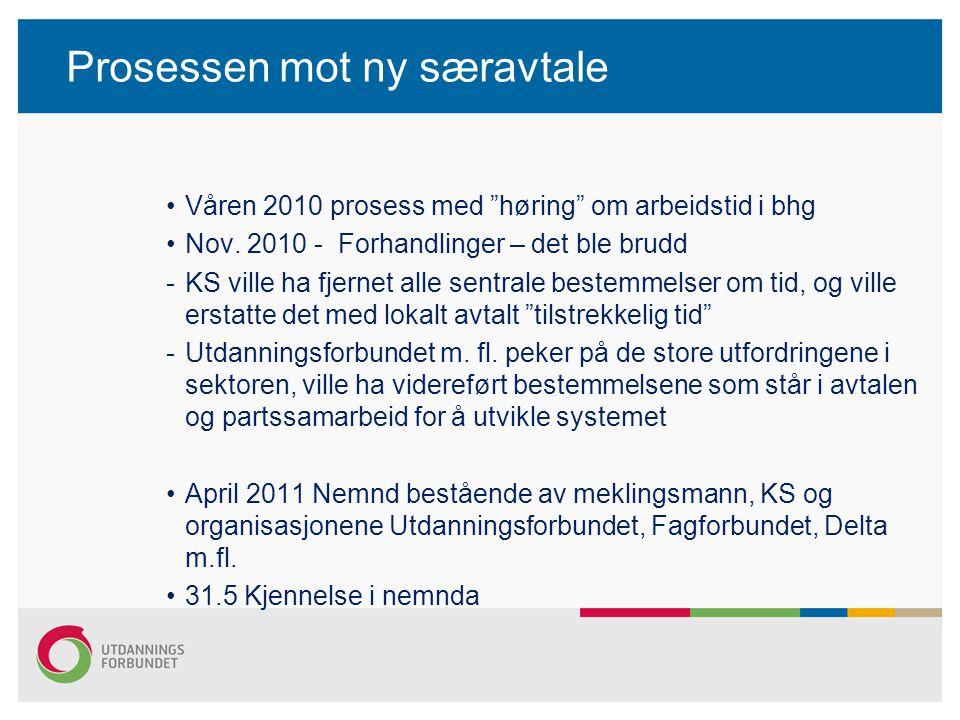 """Prosessen mot ny særavtale Våren 2010 prosess med """"høring"""" om arbeidstid i bhg Nov. 2010 - Forhandlinger – det ble brudd -KS ville ha fjernet alle sen"""